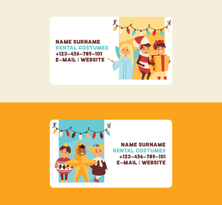 Christmas 2019 Happy New Year greeting card happy kids children costume event show business card vector background banner holidays winter xmas congratulation New Year poster or web banner illustration.
