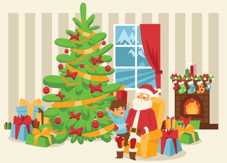 Christmas 2019 Happy New Year greeting card Santa Claus vector background banner holidays winter xmas cartoon congratulation New Year poster or web banner illustration