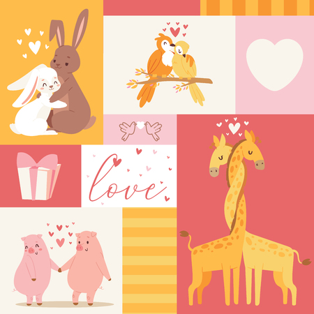 Animals baby birthday invitation zoo card vector illustration. Cute poster template. Baby shower with text love romantic card. Notebook cover with cartoon kissing animals.