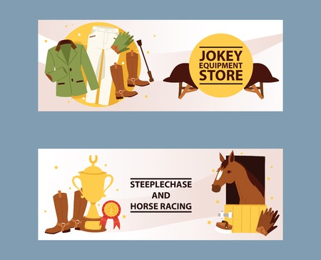 Banners for jockey equipment store. Champion in Horse racing competition. Hippodrome. Clothing for horse riding and stepplechase, jokey pants, gloves, jackets, leggings, helmet vector illustration.
