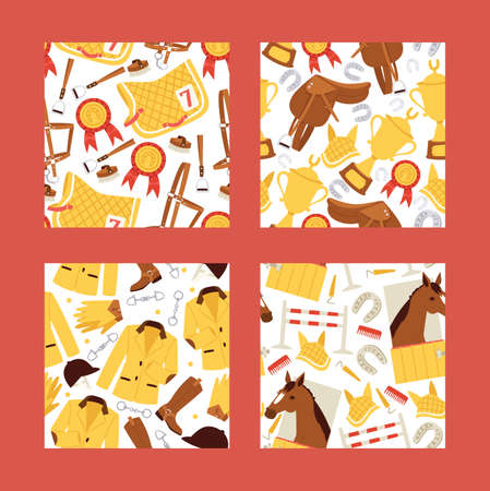 Cartoon jokey seamles pattern vector illustration. Horse in stable, saddle, stirrup, horseshoe, barriers, comb background. Çizim