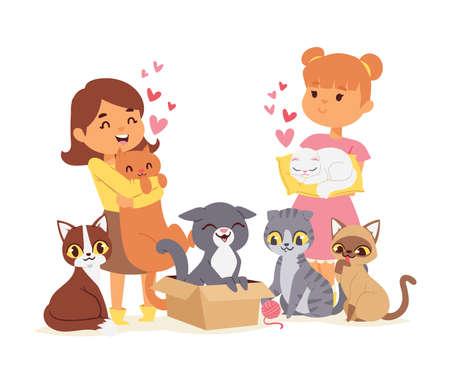 Children with pets adopt friendship concept vector illustration. Love child cat adoption.