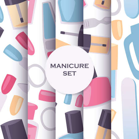 Manicure and pedicure tools seamless pattern set for nail studios. Background with products for fingernails and nail art. Polishing, cutting and creating own design.