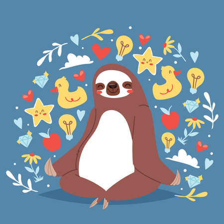 Funny sloth sitting in yoga lotus pose and relaxing vector illustration for banners. Cute sloth yoga. Cartoon animal background with icons of duck. Heart, diamond, flower, apple, star.