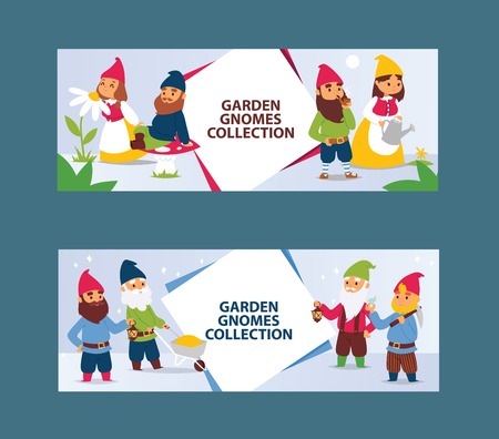Garden gnome beard dwarf characters cadrs and gardening flayer klitsch family figure background vector illustration. Little funny people toy elf figurines banner.