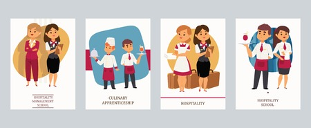 Culinary Aarts or hospitality school vector Illustration. Cards with hotel staff, meneger and assistant with notebook, chef and waiter with dishes and drinks, housekeeper and receptionist.