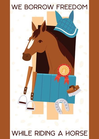 Cartoon jokey banner with horse in stable, equipment for horse riding, stirrup, horseshoe, equine with prize. Vector illustration with text We borrow fredom while riding a horse.