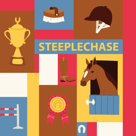 Jokey banner about steeplechase. Vector illustration with horse in stable, equipment for horse riding, prizes. Horseshoe, helmet, brush, boots, barrier, cup, medal.