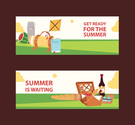 Summer picnic in park on the meadow watermalon, cakes, wine, napkins, plates vector illustration for banners. Get ready for the summer. Relaxation on nature. Having fun on air. Tasty picnic meal.