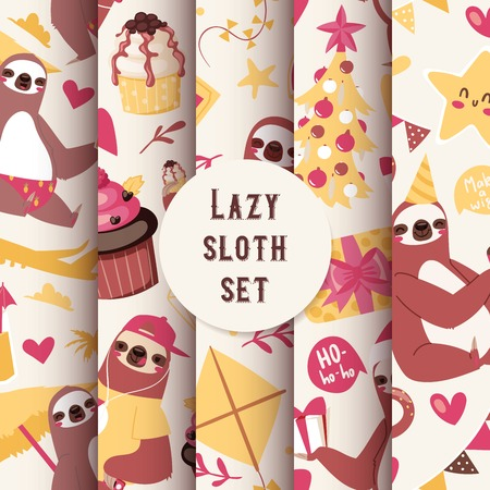 Layzy sloth seamless pattern vector illustration. Sloth on vocation with umbrella, palm, plane cakes kite. New year celebration background. Birthday party cute cartoon characters.  イラスト・ベクター素材