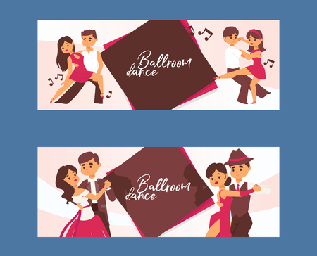 Dancing man and woman ballroom, sports dances. Tango, waltz, Latin American dances vector illustration. Dance studio. Dancing couple background banner, flyer, invitation, brochure poster.