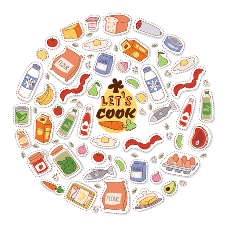 Food stickers background vector illustration. Let s cook motivation banner, flyer, brochure, poster with cartoon products, dairy products, vegetables fruit fish meat bread sugar. Foto de archivo - 126950199