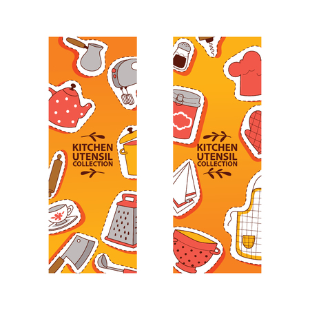 Kitchen utensil banner vector illustration. Cartoon cooking tools patches flyer apron gloves pan pot grater, bowl, teacup, colander, rolling pin, mixer, napkin, can. 向量圖像