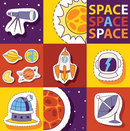 Space equipment vector illustration. Badges, patches, stickers set with Space, UFO, rocket, telescope, comet, sun, moon, observatory, satellite, helmet. Discovering universe. Illustration