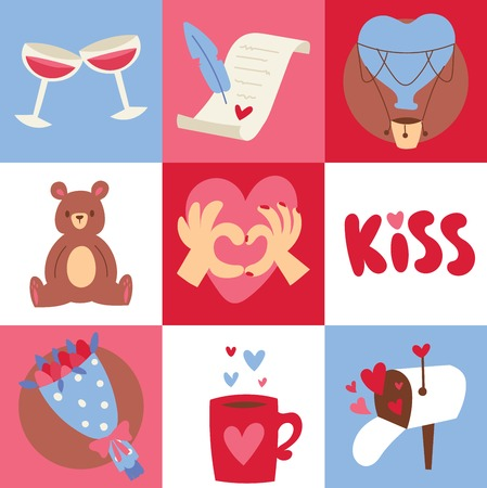 Valentines day background vector illustration. Gifts for celebration, attributes of holiday. Glasses with red wine, romantic letter, toy bear, kiss, bouquet of flowers posters, brochure, banners.