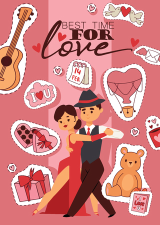 Valentines day vector illustration. Best time for love banner, poster, flyer, brochure with couple in love dancing passionately. Hearts, bear toys gifts sweets guitar calendar stickers.