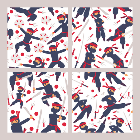 Ninja characters seamless pattern. Cartoon warriors in different positions vector illustration. Traditional school of martial arts. Japan fighters specializing in unorthodox arts of war.