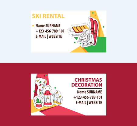 Ski rental and Cristmas decorations business cards template vector illustration. Ski, sleigh, skates. Contact information.