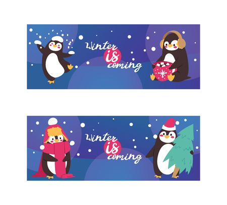 Penguin animal in scarf and ear muffs in winter with falling snow. Funny polar winter bird banner poster. Cartoon character and new year tree and cup of hot drink with marshmallows vector illustration