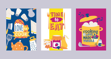 Cooking appliances and restaurant utensil and food set of cards vector illustration. Love to cook. Time to eat. Cooking is love made visible poster, banner. Kettle, coffee pot, salt, grater, ladle. Stock Illustratie