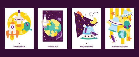 Space science cards set. Flying rockets. Space tourism. Technoogy. Watch the stars. Meet the uknown. Satellites, cartoon alliens and UFO spaceship icons vector illustration. Constellation.