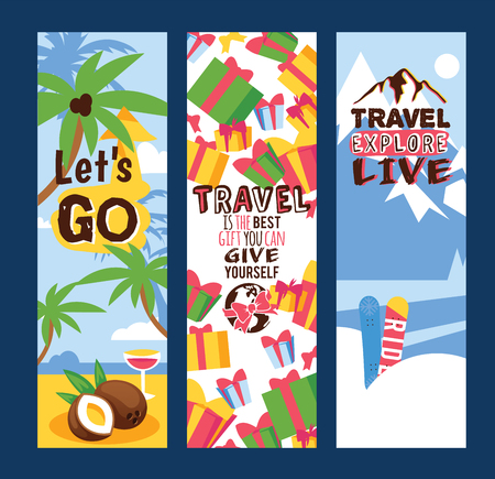 Travelling concept set of banners vector illustration. Let s go. Travel is the best gift you can give yourself. Travel explore live. Sunny beaches with palm trees with coconuts. Mountains, presents. Illusztráció