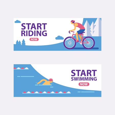 Triathlon track vector illustration. Start swimming, riding banners. Fast sportsman in triathlon game, exercise sport concept set. Healthy lifestyle. Fit and active male characters.