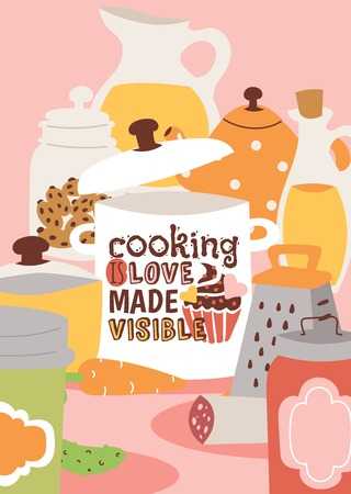 Cooking appliances and kitchen utensil vector illustration. Pan with text Cooking is love made visible poster. Jar with juice, cookie jar, cans, grater, oil, carrot, cucumber, sausage.