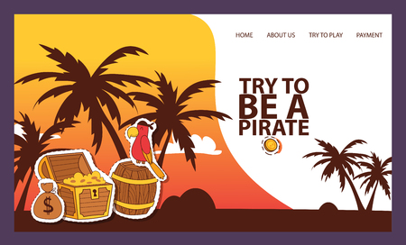Pirates adventure hunt for lost treasure banner vector illustration. Try to be a pirate. Treasure, golden coins, parrot, barel stickers and patches. Island with palms. Web site template.