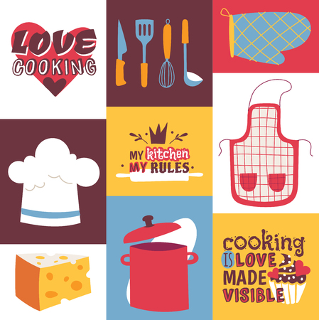 Cooking utensils vector illustration. Cooking appliances and restaurant supplies and food background. Love cooking, My kitchen my rules. Cooking is love made visible. Glove, apron, pan, knife, ladle.