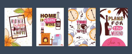 Love wine set of cards vector illustration. Another glass Why not Home is where the wine. Time to wine. Plans for the weekend. Join us. Invitations for parties. Advertisement for wine shop.  イラスト・ベクター素材