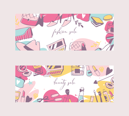 Accessories for girls banners vetor illustration. Woman stuff flyer with sales for shops and beauty salons. Fashion, elegance. Cosmetics toiletry bags shoes hat mascara, eye shadows. Illusztráció
