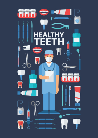 Dental, stomatological equipment banner, poster vector illustration. Dentist in uniform. Dentistry technology products, professional tools, medical supplies. Healthy teeth. Çizim