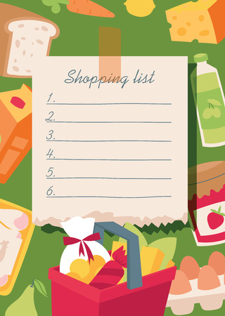Shopping list vector illustration. Checklist food planning for market, everyday notebook with vegetables, basket, diary products, bread, juice, sausage, jam, egs, carrot milk cheese lemon Çizim