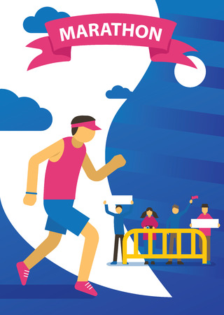 Triathlon track vector illustration. Running marathon, competition. Cartoon running sportsman in sportswear. People supporting athletes. Healthy lifestyle. Fit and strong male character. Stock fotó - 126854324