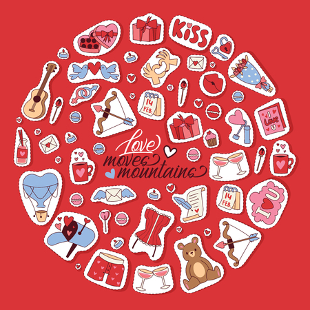 Happy Valentines day background vector illustration. Love moves mountains. Hearts, kisses, bear toys, gifts, sweets guitar cupcakes glasses of wine romatic letter stickers. 14th of Fabruary.