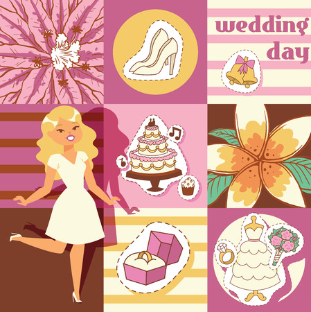 Wedding day background vector illustration. Cartoon cheerful ride woman waiting for party poster, banner. White dress and shoes. Ring with diamond. Cake and cupcakes. Bridal brunch of flowers. Standard-Bild - 126854326