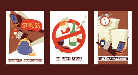 Estrés y tarjetas de concepto de situación estresante establecen ilustración vectorial. Gestión financiera. Falta de dinero. No más abusos. Renunciar a los malos hábitos. No Fumar. Gestión del tiempo. Cumplimiento de plazos.