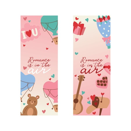 Valentine s day vector illustration. Romance is in the air banner, poster, flyer, brochure with hearts, bear toys, flowers gifts sweets guitar greeting cards. For lovely couple. In love.
