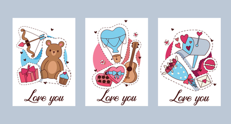 Happy Valentines day vector illustration. Set of Valentines romantic greeting card, invitation, poster design templates. Love you. Hearts, bear toys gifts, sweets guitar cupcakes stickers. Illustration