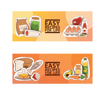 Food and cooking vector illustration. Easy recipes for life banner. For food blog, cover of cookbooks. Meat, onion cucumber, tomato paste fish eggs flour bread butter, avocado. Illustration