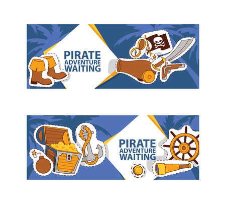 Pirate adventure waiting banner. Corsairs vector illustration with stickers and patches such as anchor, treasure, black hat, spyglass flag sword compass boots bomb. Jolly roger. Stock Vector - 126854333