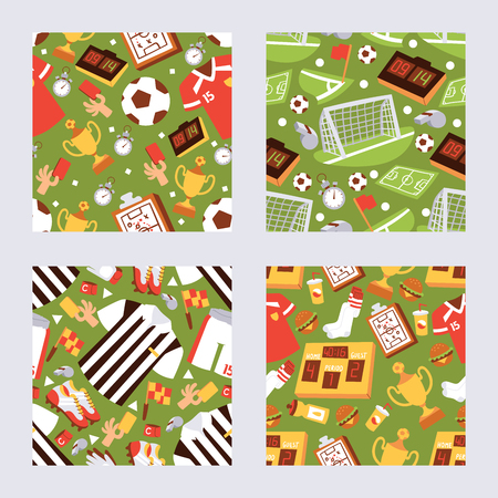 Football sport equipment seamless pattern vector illustration. Recreation and leisure. Uniform an supplies for active hobby. Winning match background. Field for football players. Clothes for referee.