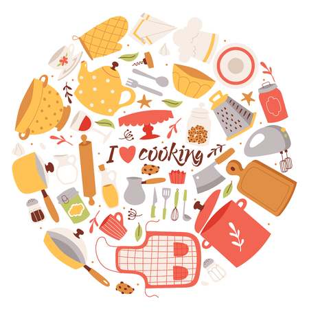 Ingrédients et ustensiles de cuisine illustration vectorielle de fond. Éléments de vaisselle culinaire de cuisine de dessin animé pour l'affiche de cuisine, la bannière, la brochure. J'aime cuisiner. Tablier, poêle, marmite, râpe, bol, mixeur