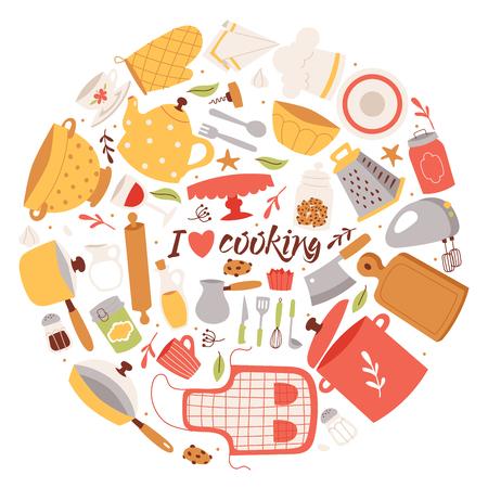 Kochen von Zutaten und Utensilien Hintergrund-Vektor-Illustration. Kochgeschirrelemente der Karikaturküche zum Kochen von Postern, Bannern, Broschüren. I koche gerne. Schürze, Pfanne, Topf, Reibe, Schüssel, Mixer