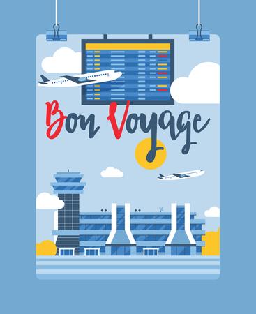 Aeropuerto vector avión vuelo salida llegada terminal aeropuertos edificio ilustración telón de fondo viajando en avión transporte fondo Ilustración de vector