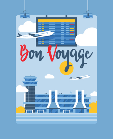 Airport vector plane flight departure arrival terminal airports building illustration backdrop traveling by airplane transport background