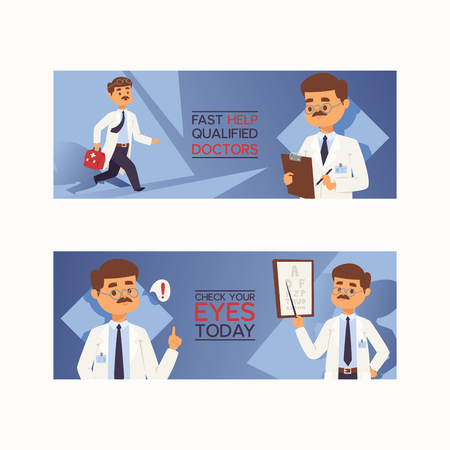 Doctor vector doctoral people character professional medical worker physician with medicine-chest in clinic illustration backdrop set of hospital ad banner background.