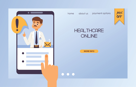 Doctor vector web-page doctoral character professional medical worker physician with medicine-chest in clinic illustration backdrop web landing page of hospital ad banner background.