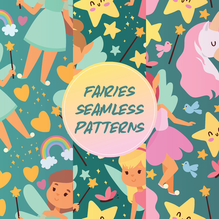 Fairy girl seamless pattern vector magic faery character and fantasy beautiful princess cartoon unicorn of fairy-tale in fairyland rainbow backdrop illustration set girlie pixy with magic wings background.